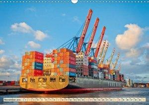 Containerschiffe auf der Elbe (Wandkalender 2019 DIN A3 quer)