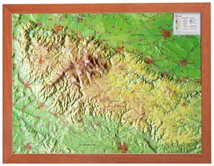 Relief Harz 1:200.000 mit Holzrahmen