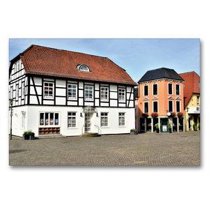 Premium Textil-Leinwand 90 cm x 60 cm quer Pforthaus - Fachwerkb