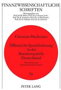 Öffentliche Sportförderung in der Bundesrepublik Deutschland