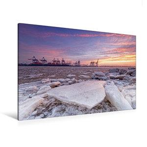 Premium Textil-Leinwand 120 cm x 80 cm quer Eiszeit an der Elbe