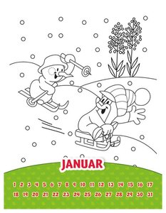 Der kleine Maulwurf Ausmalkalender