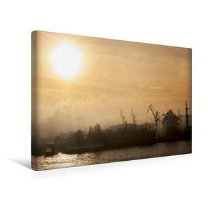Premium Textil-Leinwand 45 cm x 30 cm quer Nebel im Hafen