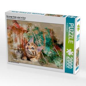 Die junge Katze unter´m Zaun 2000 Teile Puzzle quer