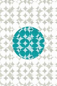 Premium Textil-Leinwand 60 cm x 90 cm hoch Punkte, Türkis und We