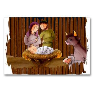 Premium Textil-Leinwand 90 cm x 60 cm quer Jesus wird im Stall v