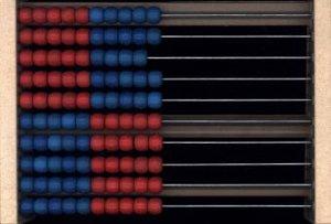 Rechenrahmen 100er Zahlenraum, aus RE-Wood®, rot/blau
