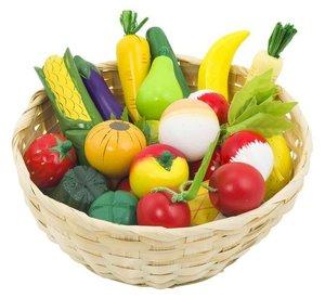 Goki 51660 - Obst und Gemüse im Korb für Kaufladen Holz, 23teili