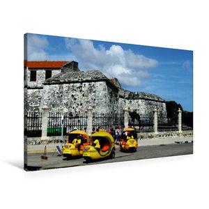 Premium Textil-Leinwand 90 cm x 60 cm quer Coco-Taxis in Havanna