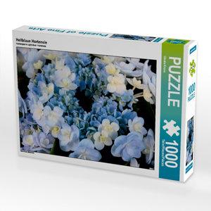 Hellblaue Hortensie 1000 Teile Puzzle quer