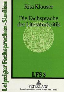Die Fachsprache der Literaturkritik