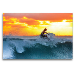 Premium Textil-Leinwand 120 cm x 80 cm quer Surfen in den Sonnen