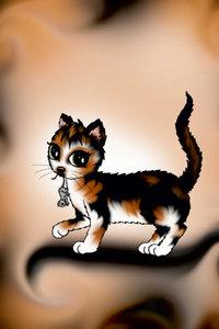 Premium Textil-Leinwand 30 cm x 45 cm hoch Kätzchen mit Maus