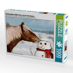 CALVENDO Puzzle Schwarzwälder Kaltblut Daim und der Schneemann 1