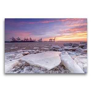 Premium Textil-Leinwand 75 cm x 50 cm quer Eiszeit an der Elbe