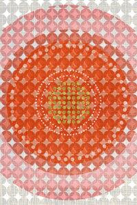Premium Textil-Leinwand 60 cm x 90 cm hoch Punkte, Orange und Go