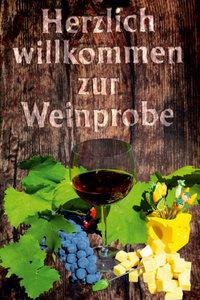 Premium Textil-Leinwand 80 cm x 120 cm hoch Einladung zur Weinp