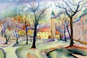 Premium Textil-Leinwand 90 cm x 60 cm quer Schloss Lützen