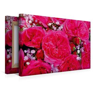 Premium Textil-Leinwand 45 cm x 30 cm quer Rosenstrauss in pink