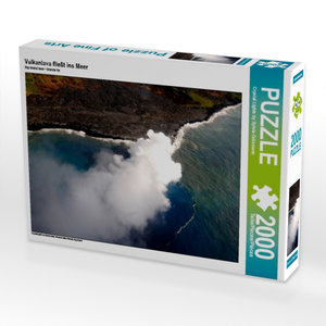Vulkanlava fließt ins Meer 2000 Teile Puzzle quer
