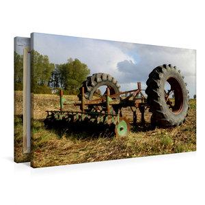 Premium Textil-Leinwand 90 cm x 60 cm quer Alte Egge und Trecker