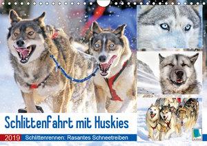 Schlittenfahrt mit Huskys (Wandkalender 2019 DIN A4 quer)