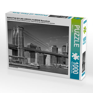CALVENDO Puzzle MANHATTAN SKYLINE & BROOKLYN BRIDGE Monochrom 10