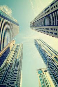 Premium Textil-Leinwand 30 cm x 45 cm hoch Dubai Marina Towers