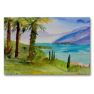 Premium Textil-Leinwand 90 cm x 60 cm quer Am Lago Maggiore