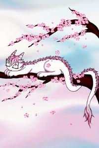 Premium Textil-Leinwand 60 cm x 90 cm hoch Sakura Drache