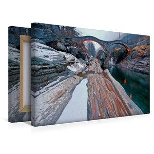 Premium Textil-Leinwand 45 cm x 30 cm quer Bootshaus mit Blick a