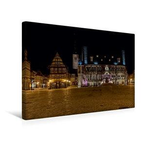 Premium Textil-Leinwand 45 cm x 30 cm quer Rathaus in Quedlinbur