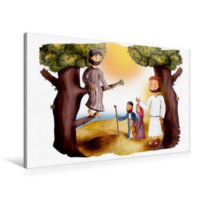Premium Textil-Leinwand 90 cm x 60 cm quer Zachäus und Jesus tre