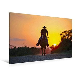 Premium Textil-Leinwand 90 cm x 60 cm quer Ein Cowboy reitet in