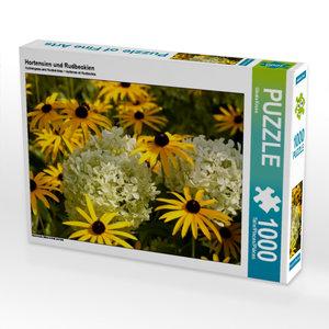 Hortensien und Rudbeckien 1000 Teile Puzzle quer
