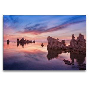 Premium Textil-Leinwand 120 cm x 80 cm quer mono lake - californ
