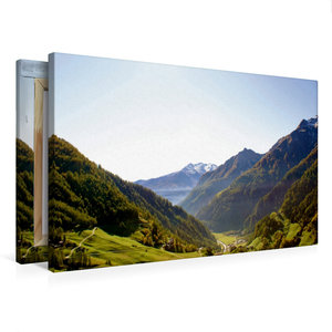 Premium Textil-Leinwand 75 cm x 50 cm quer Blick ins Tal