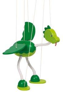 GOKI 51942 - Marionette Dinosaurier Nepomuk, 27 cm