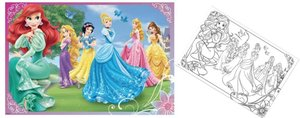 Jumbo 17357 - Disney Princess Puzzle & Colour