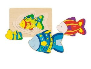 Goki 57897 - Schichtenpuzzle Fisch, Holz, 11 Teile
