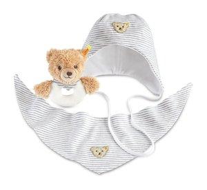 Steiff 239779 - Geschenkset Schlaf-gut-Bär Greifring, 12 cm