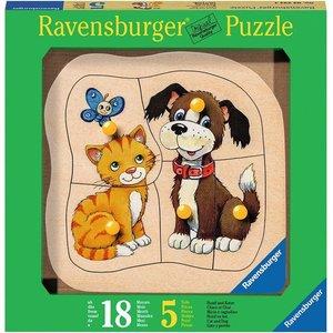 Ravensburger 03233 - Hund und Katze, Holzpuzzle, 5 Teile