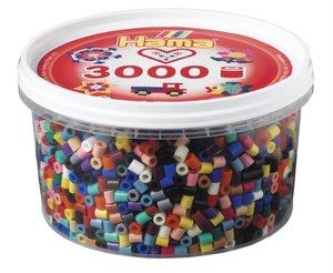 Hama 210-67 - Perlen Dose, 3000 Stück, 21 Vollton Farben, Farbmi