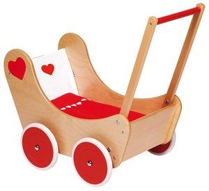 Goki 51740 - Puppenwagen mit Bettzeug, Holz