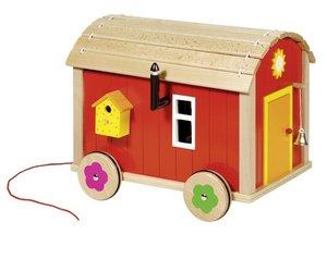 Goki 51814 - Puppenbauwagen mit Zubehör, 23-teilig aus Holz