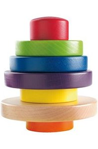 Haba 2215 - Regenbogenturm, Stapelturm aus Holz
