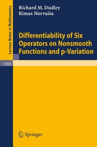 Differentiability of Six Operators on Nonsmooth Functions and p-