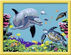 Delfin und Schildkröte. Malen nach Zahlen Serie D