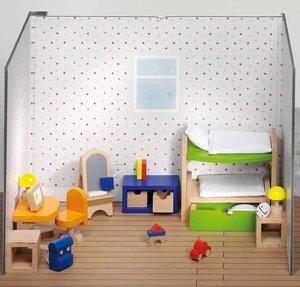 Goki 51746 - Puppenmöbel Kinderzimmer, 28 Teile