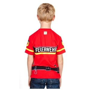 Kids Shirt Kinder Feuerwehr T-Shirt rot Uniform - Gr. 134